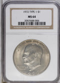 Eisenhower Dollars: , 1972 $1 Type One MS64 NGC. PCGS Population (446/165). (#87409)...