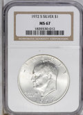 Eisenhower Dollars: , 1972-S $1 Silver MS67 NGC. NGC Census: (668/317). PCGS Population (4082/1240). Mintage: 2,193,056. (#7411)...