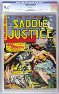 Golden Age (1938-1955):Western, Saddle Justice #8 (EC, 1949) CGC VF/NM 9.0 Off-white pages. After just six issues bringing justice to saddles everywhere, th...