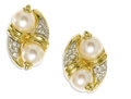Estate Jewelry:Earrings, Cultured Pearl, Diamond, Gold Earrings. Each earring featurescultured pearls measuring approximately 7.50 - 8.00 mm, enha...(Total: 2 Pieces)
