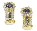 Estate Jewelry:Earrings, Sapphire, Diamond, Gold Earrings. Each earring features oneoval-shaped sapphire measuring approximately 4.00 x 3.00 mm, e...(Total: 2 Pieces)