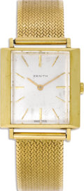 Timepieces:Wristwatch, Zenith, Men's Gold Bracelet Wristwatch, Circa 1950. Case: 28 mm,18k yellow gold, soldered lugs, case back engraved 275A45...