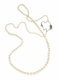 Estate Jewelry:Necklaces, Cultured Pearl, Diamond, Platinum Necklace. The necklace is composed of cultured pearls ranging in size from 2.50 - 3.00 m...