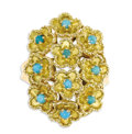 Estate Jewelry:Rings, Turquoise, Gold Ring. The ring is designed as a bouquet of flowers,each centering a turquoise cabochon, set in 18k yellow...