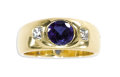 Estate Jewelry:Rings, Sapphire, Diamond, Gold Ring. The ring centers an oval-shapedsapphire measuring approximately 7.00 x 6.50 x 4.00 mm and w...