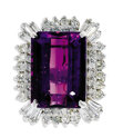 Estate Jewelry:Rings, Amethyst, Diamond, White Gold Ring. The ring features an emerald-cut amethyst measuring 18.10 x 13.15 x 9.00 mm and weighi...