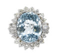 Estate Jewelry:Rings, Aquamarine, Diamond, White Gold Ring. The ring centers an oval-shaped aquamarine measuring approximately 15.00 x 12.00 mm ...