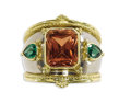 Estate Jewelry:Rings, Topaz, Tsavorite Garnet, Gold Ring, Fennel. The ring features anemerald-cut topaz measuring 11.00 x 9.00 x 8.50 mm and we...