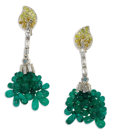 Estate Jewelry:Earrings, Emerald Bead, Diamond, Colored Diamond, White Gold Earrings. Each earring features teardrop-shaped emerald beads of varyin... (Total: 2 Pieces)