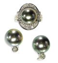 Estate Jewelry:Other , South Sea Cultured Pearl, Diamond, White Gold Jewelry Suite. Thesuite includes: a pair of earrings, each featuring a blac...(Total: 3 Pieces)
