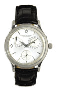 """Timepieces:Wristwatch, Jaeger-leCoultre, Men's Stainless Steel """"Master Control"""" Leather Strap Wristwatch, Modern. Case: 14 mm, stainless steel (n..."""