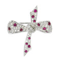 Estate Jewelry:Brooches - Pins, Diamond, Ruby, Platinum Brooch, Tiffany & Co.. The brooch, designed as a bow, features full-cut diamonds weighing a total ...