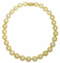 Estate Jewelry:Necklaces, South Sea Cultured Pearl, Diamond, Gold Necklace. The necklace is composed of golden South Sea cultured pearls ranging in ...