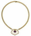Estate Jewelry:Necklaces, Amethyst, Diamond, Rock Crystal Quartz, Gold Necklace. The necklacefeatures a carved frosted rock crystal quartz tablet, ...