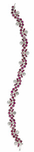 Estate Jewelry:Bracelets, Ruby, Diamond, White Gold Bracelet. The floral motif braceletfeatures round-cut rubies ranging in size from 2.00 to 2.70 ...