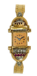 Timepieces:Wristwatch, Bulova, Lady's Ruby, Diamond, Rose Gold Covered Dial Integral Bracelet Wristwatch, Circa 1930. Case: 20 mm, 14k rose gold,...