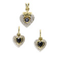 Estate Jewelry:Other , Diamond, Sapphire, Gold Jewelry Suite. The heart-shaped suiteincludes: one pair of earrings, each highlighted by a heart-...(Total: 3 Items)