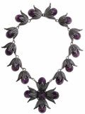Estate Jewelry:Necklaces, Retro Amethyst, Silver Necklace, Hubert Harmon, Mexico. Thenecklace features round amethyst cabochons ranging in size fro...