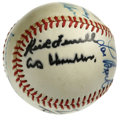 Autographs:Baseballs, Hall of Famers Baseball Signed by 9. Nine members of Cooperstown'sexclusive Hall of Fame have checked in on the ONL (Feen...
