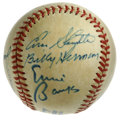 Autographs:Baseballs, Hall of Famers Baseball Signed by 8. Eight Hall of Fame signaturesare up for grabs here, all offered on the surface of thi...