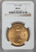 Saint-Gaudens Double Eagles: , 1911-S $20 MS63 NGC. NGC Census: (1801/1702). PCGS Population(1268/2007). Mintage: 775,750. Numismedia Wsl. Price for prob...
