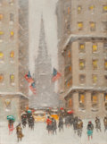 Fine Art - Painting, American:Modern  (1900 1949)  , GUY CARLETON WIGGINS (American, 1883-1962). Old Trinity at WallStreet, New York. Oil on canvasboard. 16 x 12 inches (40...(Total: 2 Items)