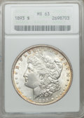 Morgan Dollars: , 1893 $1 MS63 ANACS. NGC Census: (662/745). PCGS Population (1228/1356). Mintage: 389,792. Numismedia Wsl. Price for problem...