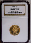 Proof Liberty Half Eagles: , 1860 $5 PR64 Cameo NGC. NGC Census: (2/2). (#88450)...