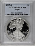 1987-S $1 Silver Eagle PR66 Deep Cameo PCGS. PCGS Population (31/4062). NGC Census: (3/5848). Mintage: 904,732. Numismed...