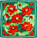 "Luxury Accessories:Accessories, Hermes 90cm Green & Red ""Fleurs de Lotus,"" by ChristianeVauzelles Silk Scarf. Very Good to Excellent Condition.36"" W..."