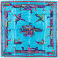 "Luxury Accessories:Accessories, Hermes 90cm Blue ""Decoy,"" by Joy Line Silk Scarf . ..."