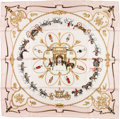 """Luxury Accessories:Accessories, Hermes 90cm Pink, Brown & Gold """"The Royal Mews,"""" by Jean DeFougerolle Silk Scarf. ..."""