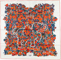 "Luxury Accessories:Accessories, Hermes 90cm White, Orange & Green ""Legende Moghole,"" by KarenPetrossian Silk Scarf. ..."