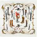 "Luxury Accessories:Accessories, Hermes 90cm White & Brown ""A Propos de Bottes,"" by Xavier DePoret Silk Scarf. ..."