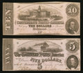 Confederate Notes:1862 Issues, T-52 $10 1862 PF-1 Cr 369. T-53 $5 1862 PF-3 Cr. 383.. ... (Total:2 notes)