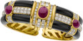 Estate Jewelry:Bracelets, Ruby, Diamond, Black Onyx, Gold Bracelet. ...