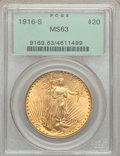Saint-Gaudens Double Eagles: , 1916-S $20 MS63 PCGS. PCGS Population (973/2880). NGC Census:(982/2324). Mintage: 796,000. Numismedia Wsl. Price for probl...