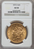 Liberty Double Eagles: , 1875-S $20 AU58 NGC. NGC Census: (1492/998). PCGS Population(482/626). Mintage: 1,230,000. Numismedia Wsl. Price for probl...