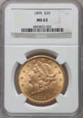 Liberty Double Eagles: , 1895 $20 MS63 NGC. NGC Census: (3385/520). PCGS Population(1746/255). Mintage: 1,114,656. Numismedia Wsl. Price for proble...