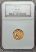 Indian Quarter Eagles: , 1908 $2 1/2 MS64 NGC. NGC Census: (1400/415). PCGS Population(1249/593). Mintage: 564,800. Numismedia Wsl. Price for probl...