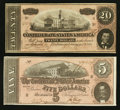 Confederate Notes:1864 Issues, T67 $20 1864 PF-26 Cr 526 . T69 $5 1864 PF-8 Cr. 562.. ... (Total: 2 notes)