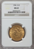 Liberty Eagles: , 1904 $10 MS63 NGC. NGC Census: (101/44). PCGS Population (172/45).Mintage: 161,900. Numismedia Wsl. Price for problem free...