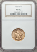1882-S $5 MS62 NGC. NGC Census: (801/566). PCGS Population (472/462). Mintage: 969,000. Numismedia Wsl. Price for proble...