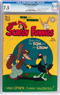 Golden Age (1938-1955):Cartoon Character, Real Screen Funnies #1 (DC, 1945) CGC VF- 7.5 Off-white pages....
