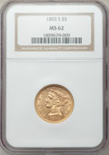 1893-S $5 MS62 NGC. NGC Census: (365/160). PCGS Population (181/128). Mintage: 224,000. Numismedia Wsl. Price for proble...