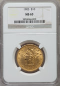 Liberty Eagles: , 1903 $10 MS63 NGC. NGC Census: (105/41). PCGS Population (136/52). Mintage: 125,800. Numismedia Wsl. Price for problem free...