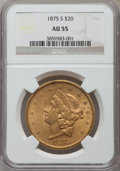 Liberty Double Eagles: , 1875-S $20 AU55 NGC. NGC Census: (434/2466). PCGS Population(358/1095). Mintage: 1,230,000. Numismedia Wsl. Price for prob...