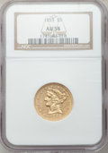 Liberty Half Eagles: , 1855 $5 AU58 NGC. NGC Census: (52/27). PCGS Population (22/21).Mintage: 117,098. Numismedia Wsl. Price for problem free NG...