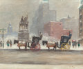Fine Art - Painting, American:Contemporary   (1950 to present)  , GUY CARLETON WIGGINS (American, 1883-1962). Winter at thePlaza, 1955. Oil on canvas. 25 x 30 inches (63.5 x 76.2 cm).S...