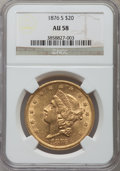 Liberty Double Eagles: , 1876-S $20 AU58 NGC. NGC Census: (2206/1755). PCGS Population(698/1408). Mintage: 1,597,000. Numismedia Wsl. Price for pro...